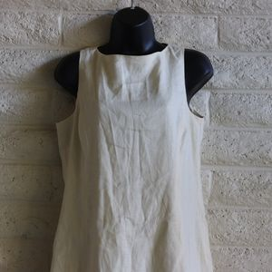 Liz Claiborne Dresses - Linen flax blend simple classic cream sheath EUC